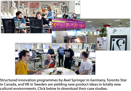 Three seperate images of work spaces for Axel Springer, Toronto Star and VK.