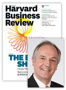 Cover of the Harvard Business Review with a portrait of a man.