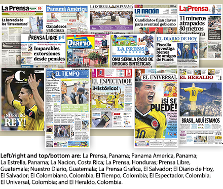 Fourteen newspaper covers from Latin America.