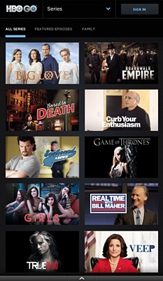 Screenshot of HBO Go app with several TV Shows being spotlighted.