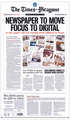 Cover of The Times of Picayune announcing Newspaper To Move Focus To Digital.