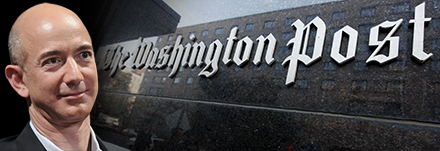 Image of a man and the outside of The Washington Post building.