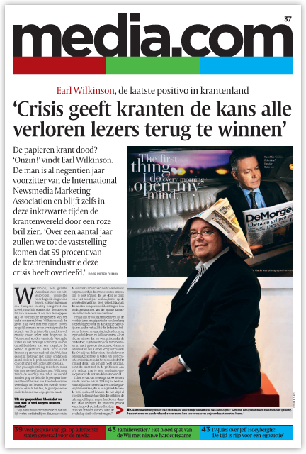 Earl interview with De Morgen, including the inexplicable posed photo with the funny printers' hat