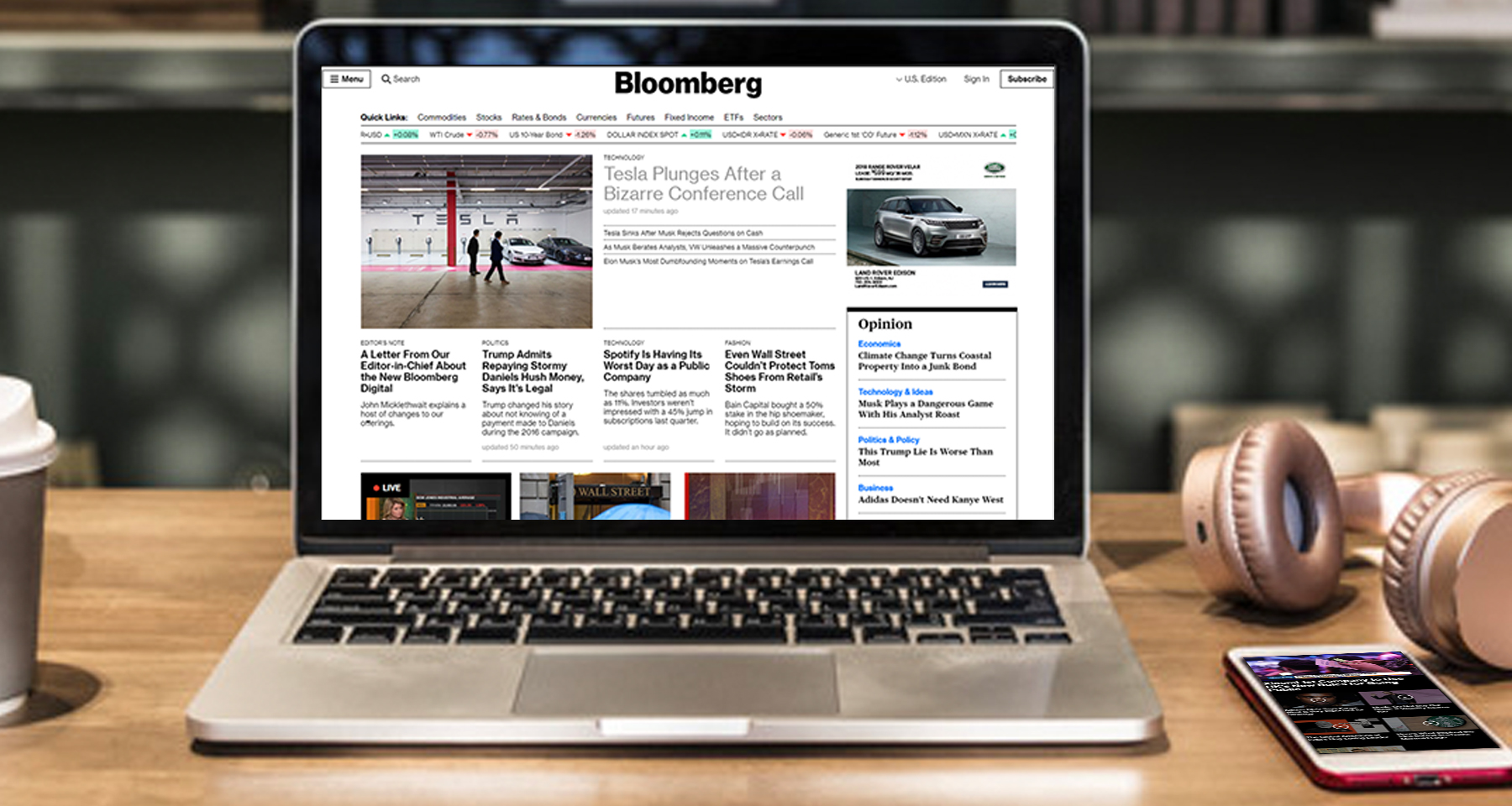 Bloomberg advertising format is responsive to client, user
