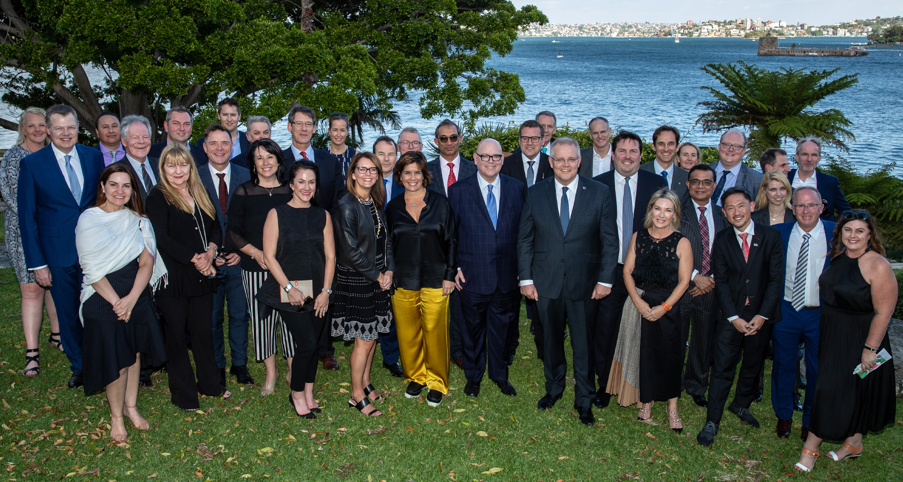 The INMA Board of Directors, pictured along with the top executives from News Corp Australia and Nine, as they met with Australian Prime Minister Scott Morrison in November at his official Sydney residence, Kirribilli House.