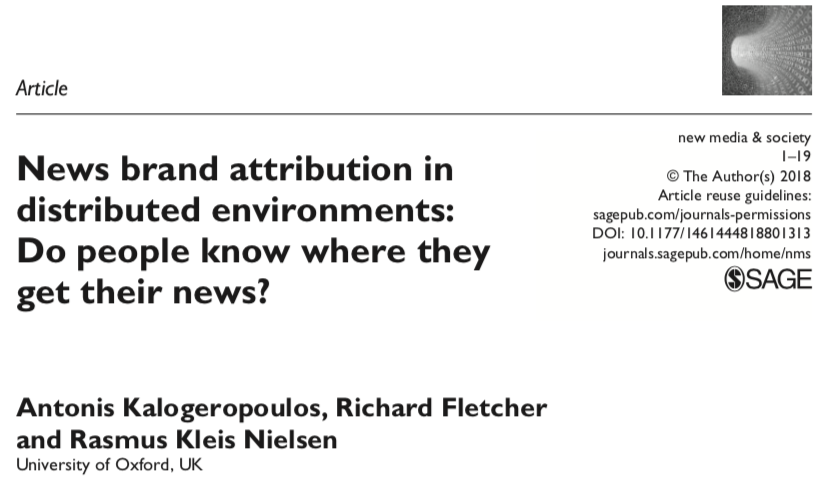 News brand attribution in distributed environments: Do people know where they get their news?
