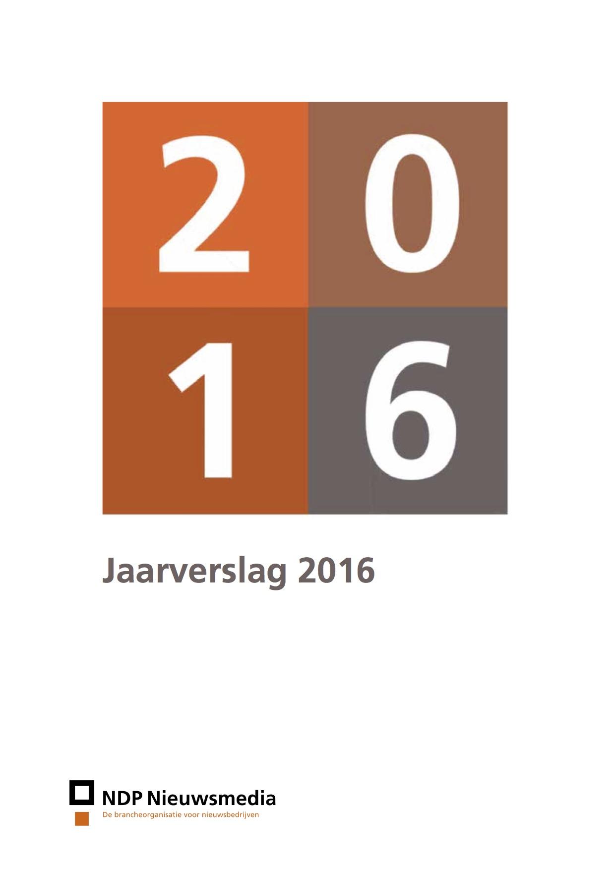 2016 Report of Dutch news media market by NDP Nieuwsmedia