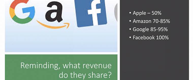 The Webinar looked at how much revenue sharing the platforms really give.