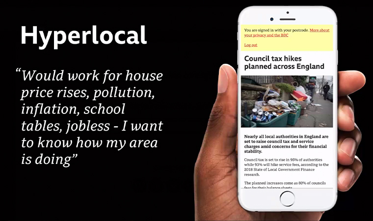 The Hyperlocal prototype delivers news that impacts readers in their immediate communities.