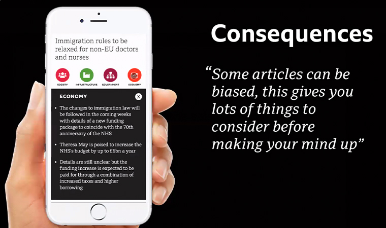 The Consequences prototype shares the potential future impact of a news story.