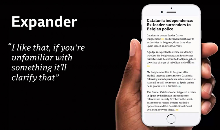 The Expander is one prototype that allows the user to expand additional information where needed.