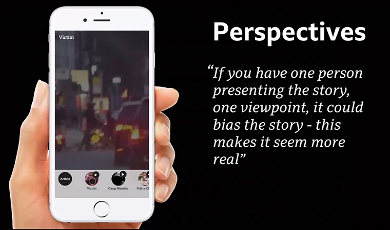 The Perspectives prototype offers different viewpoints on a story.