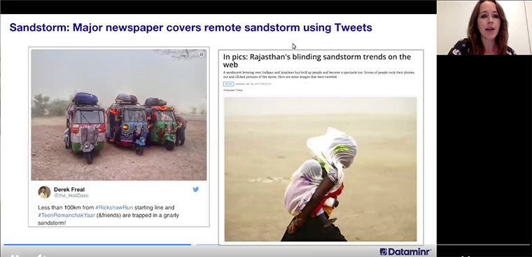 A group participating in a rickshaw race in remote India during a sandstorm became a great source for covering the disaster.