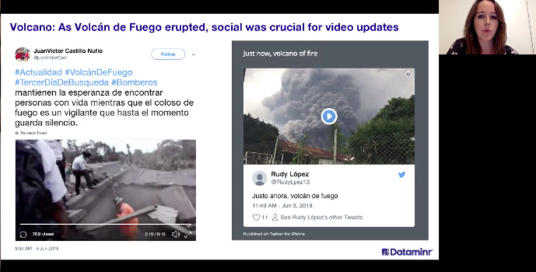Videos sourced through Dataminr provided compelling news coverage of the Volcan de Fuego eruption in Guatemala.
