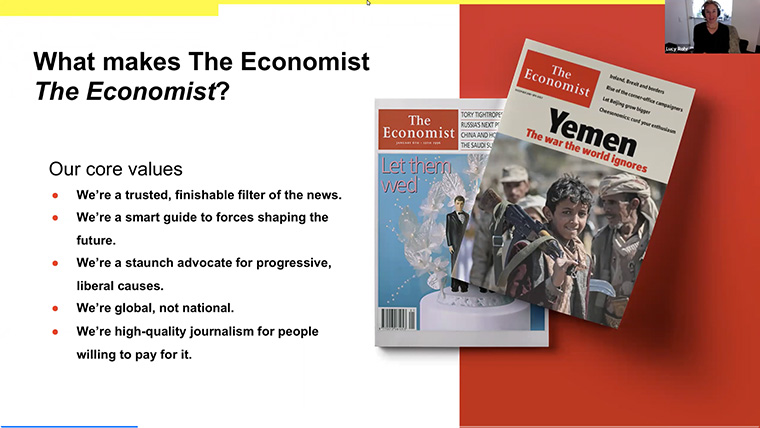 Core values of The Economist must be incorporated into any new platform or product.