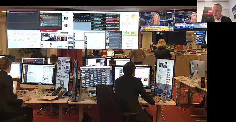 The Expressen newsroom with its super screen of data.