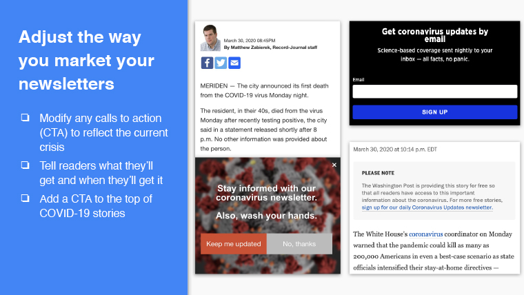 Adjust the way your newsletters are marketed, including calls to action.
