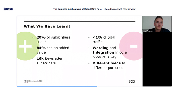 Key lessons learned by NZZ during its push for personalisation.