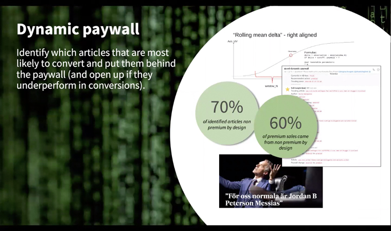 Identifying the content that is the most likely to convert to paid subscriptions, and putting those behind the paywall, is an important piece of the Schibsted strategy.