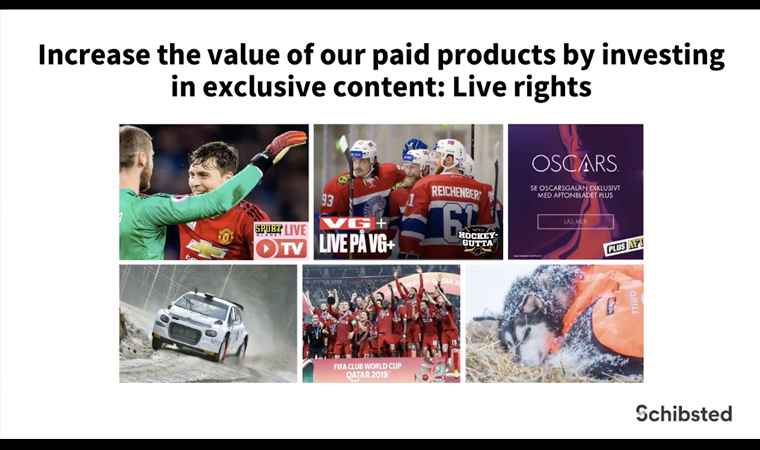 Schibsted is increasing the value of its paid products through live rights and exclusive content.