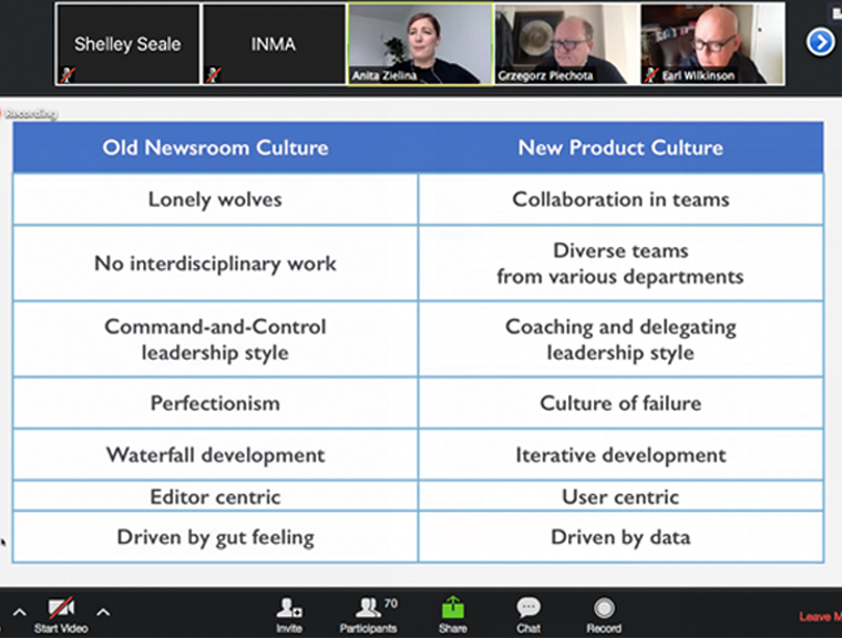 The traits of the old newsroom culture compared to a new product-forward culture.